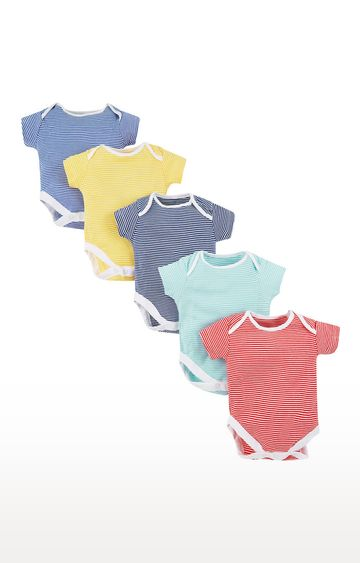Mothercare   Multicoloured Striped Romper - Pack of 5