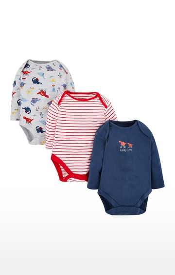 Mothercare   White and Navy Printed Romper - Pack of 3