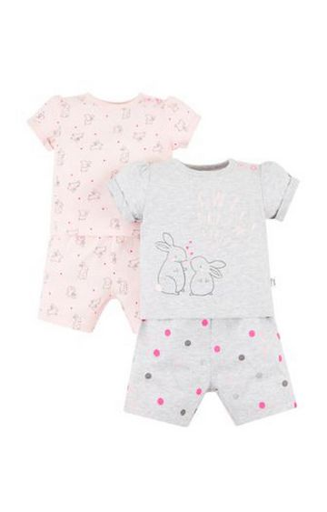 Mothercare   Pink and Grey Printed Nightsuit - Pack of 2