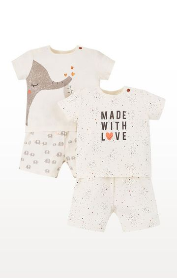 Mothercare | Elephant And Made With Love Shortie Pyjamas  2 Pack