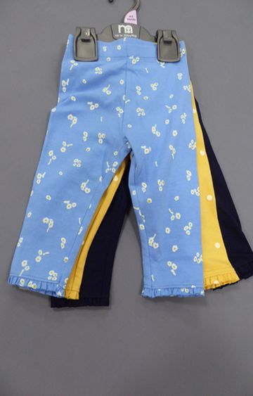 Mothercare | Yellow, Blue and Black Printed Trousers - Pack of 3