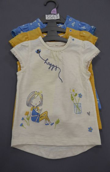 Mothercare   Blue, Yellow and Off White Printed Top - Pack of 3