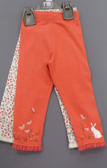 Mothercare | White and Orange Printed Trousers - Pack of 2
