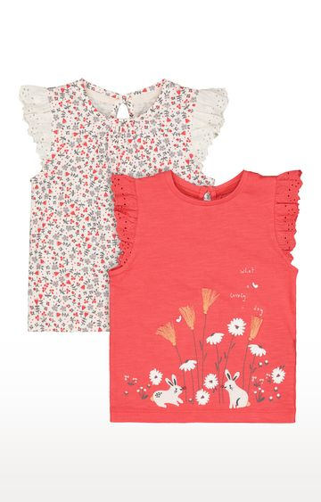 Mothercare | White & Orange Printed Top - Pack of 2
