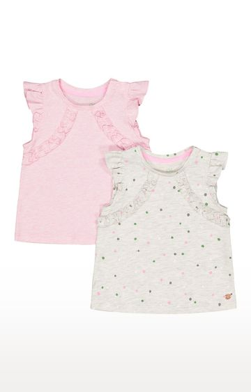 Mothercare | Grey & Pink Printed Top - Pack of 2