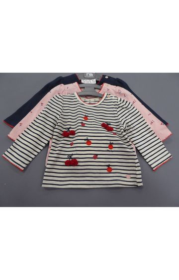 Mothercare | Navy, Pink & White Printed Top - Pack of 3
