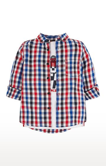 Mothercare | Red and White Printed T-Shirt and Shirt Set