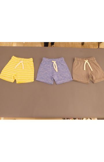 Mothercare   Yellow, Blue & Beige Melange Shorts - Pack of 3