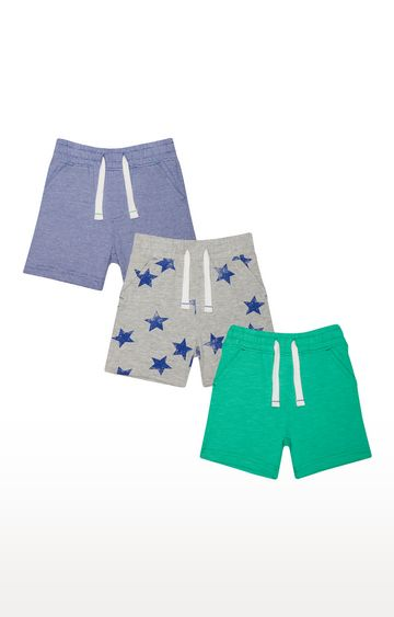 Mothercare | Grey, Green and Blue Printed Shorts - Pack of 3