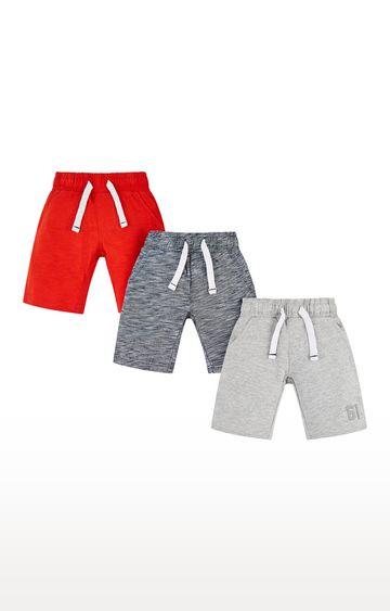 Mothercare   Blue, Grey and Orange Melange Shorts - Pack of 3