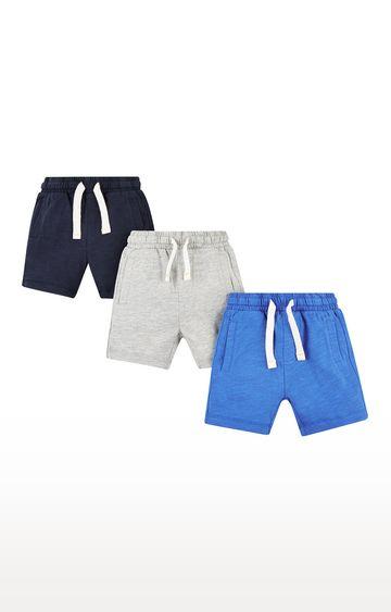 Mothercare | Grey & Blue Melange Shorts - Pack of 3