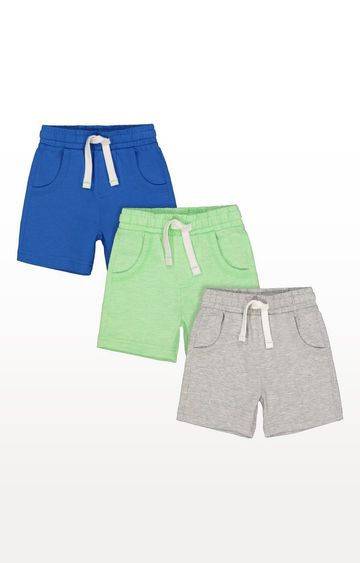 Mothercare   Grey, Blue And Lime Shorts - 3 Pack