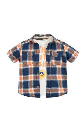 Mothercare   Blue and Orange Printed T-Shirt and Shirt Combo