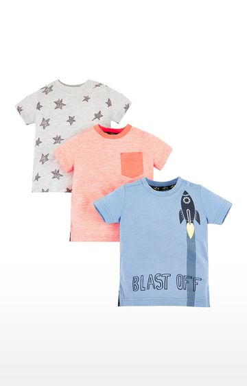 Mothercare | Blue Rocket, Orange and Star T-Shirts - 3 Pack