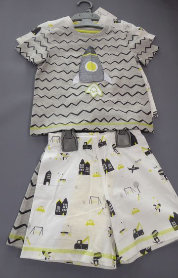 Mothercare | White and Grey Printed Nightsuit - Pack of 2
