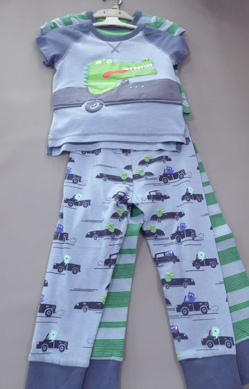 Mothercare | Blue and Green Printed Nightsuit - Pack of 2