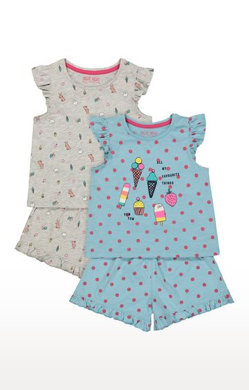 Mothercare | Blue and Beige Printed Nightsuit - Pack of 2