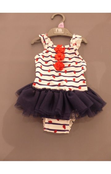 Mothercare | White and Blue Striped Swimwear