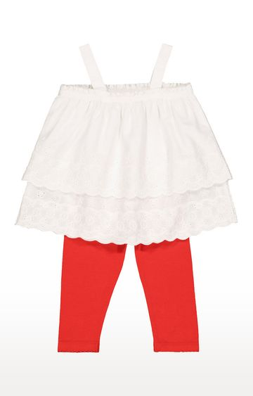 Mothercare | White Broderie Top and Red Leggings Set