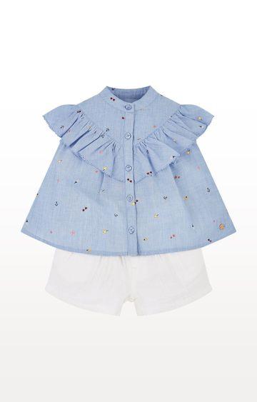 Mothercare | Blue Printed Chambray Blouse and Shorts Set