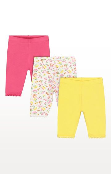 Mothercare | Floral, Yellow And Pink Crop Leggings