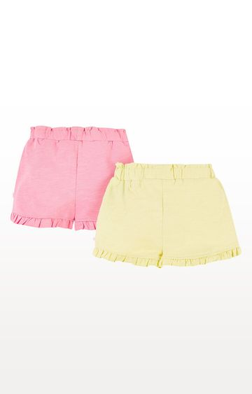 Mothercare | Pink and Yellow Frill Shorts  Pack of 2
