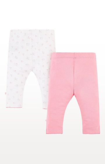 Mothercare | White Floral And Pink Leggings - 2 Pack