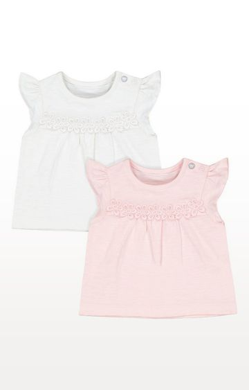 Mothercare | White And Pink Floral T-Shirts - 2 Pack