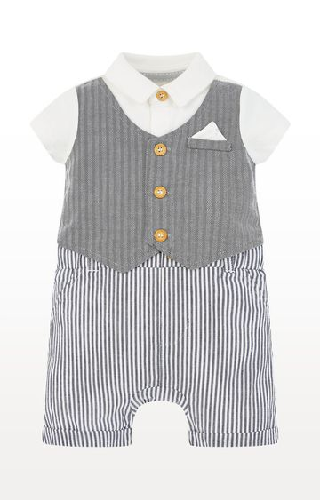 Mothercare   Grey Printed Mock Waistcoat Romper