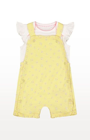 Mothercare | Yellow Floral Bibshorts And White Bodysuit Set