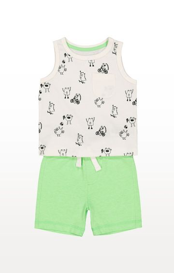 Mothercare | Monsters Vest And Green Shorts Set