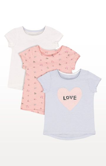 Mothercare   Blue Sequin, White Heart and Floral T-Shirts  Pack of 3