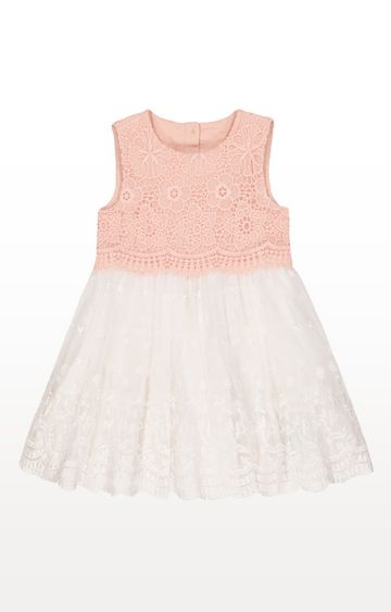 Mothercare   Pink And White Broderie Lace Occasion Dress