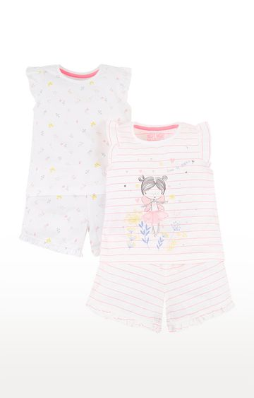 Mothercare   White and Pink Printed Sleepwear Pyjamas