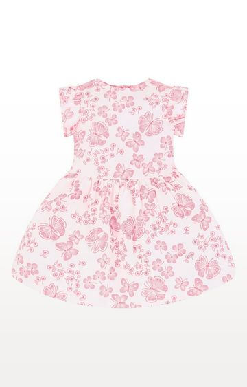 Mothercare   White And Neon Pink Butterfly Waisted Dress
