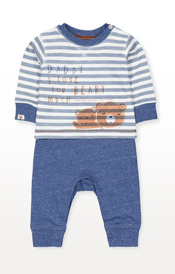 Mothercare | Blue Daddy Bear Mock Top All In One