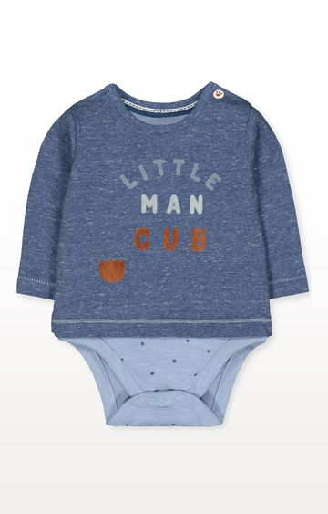 Mothercare | Blue Little Man Cub Bear Mock T-Shirt Bodysuit