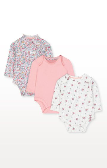 Mothercare   Floral and Pink Wrap Bodysuits - Pack of 3