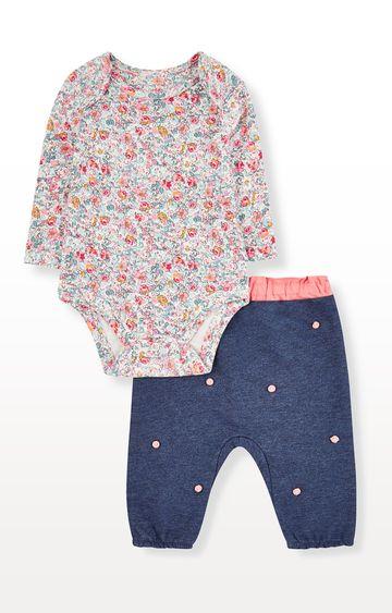 Mothercare | Floral Bodysuit and Blue Pom Pom Joggers Set