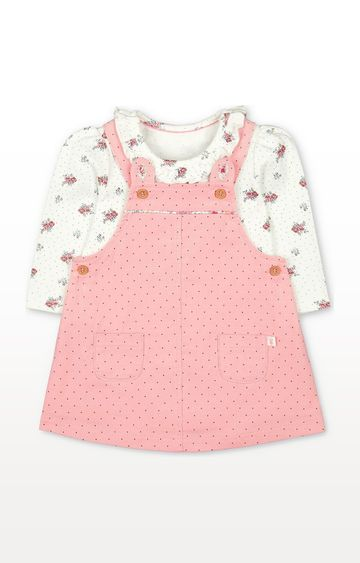 Mothercare | Pink Cord Pinny Dress And Bodysuit Set