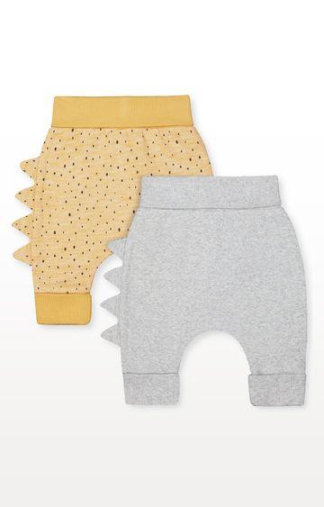 Mothercare | Yellow Dinosaur and Grey Rib Joggers - Pack of 2