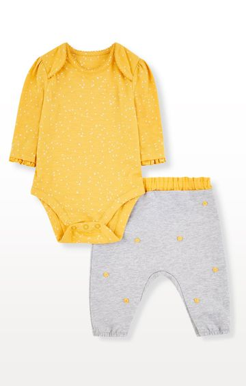 Mothercare | Yellow Bodysuit and Grey Pom Pom Trousers Set