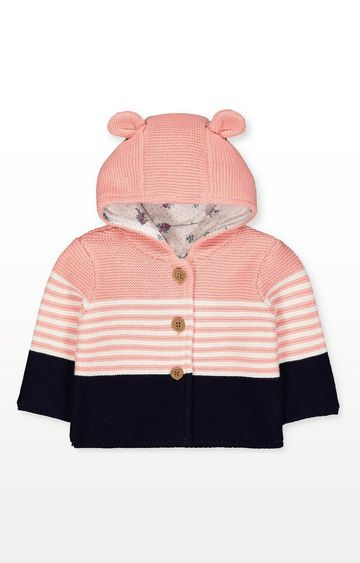 Mothercare | Pink Striped Knitted Cardigan