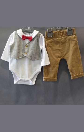 Mothercare | White and Brown Solid Twin Set