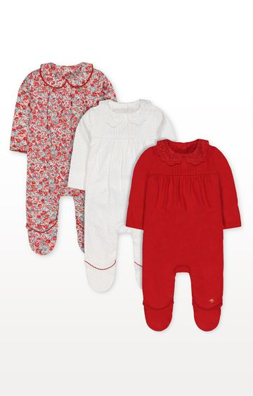 Mothercare | Red, White Spot and Floral Collared Sleepsuits - Pack of 3