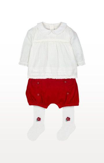 Mothercare | White Polka Dot Blouse, Red Shorts And Tights Set