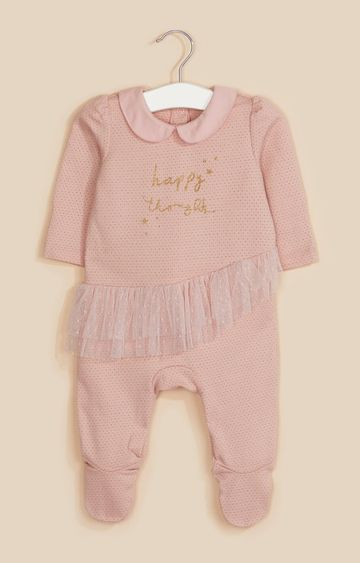 Mothercare | Pink Happy Thoughts Frill All In One