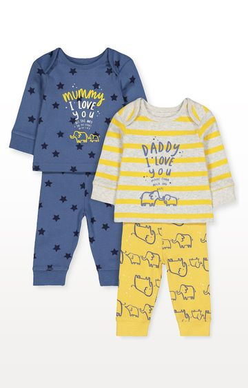 Mothercare | Elephant Mummy and Daddy Pyjamas - Pack of 2
