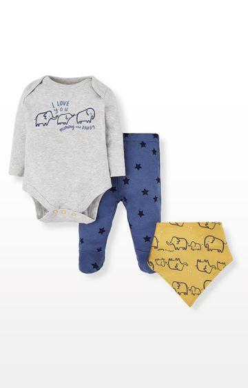 Mothercare | Elephant Mummy and Daddy Bodysuit, Leggings and Bib Set