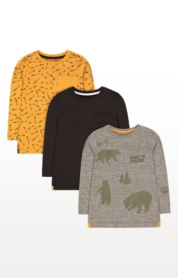 Mothercare | Grey Bear, Mustard Arrow and Charcoal T-Shirts - Pack of 3